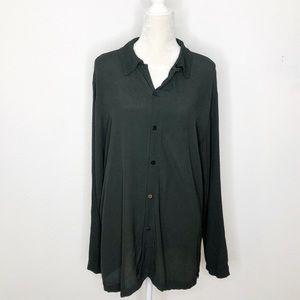 Cp Shades Dark Moss Green Button Down Tunic Size S